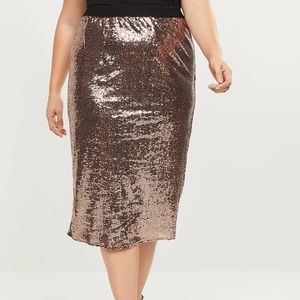 18W Rose Gold Sequin Pencil Skirt